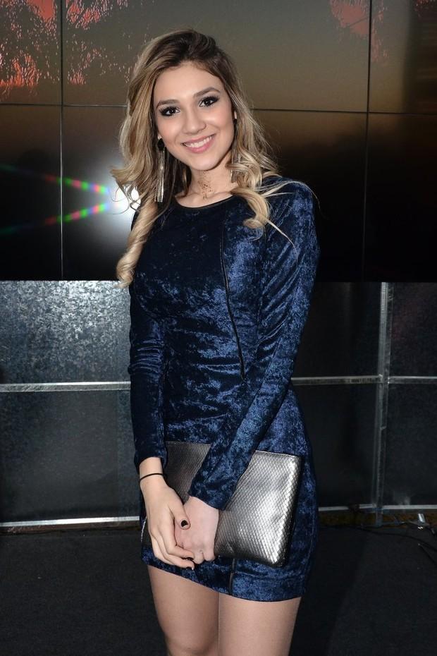 Bruna Santana, irmã de Luan Santana, na gravação do DVD do cantor, em Itu, Sâo Paulo (Foto: Caio Duran/AgNews)