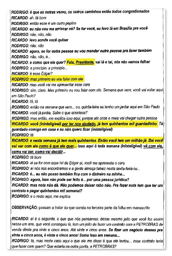 Diálogo entre Ricardo Saud, lobista da JBS, com Rodrigo Rocha Loures  (Foto: Reprodução )