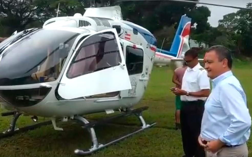 Helicóptero do governador Rui Costa fez pouso de segurança no sul da Bahia (Foto: GOVBA)