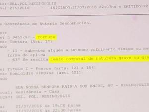 Boletim foi registrado como homicídio e tortura (Foto: Reprodução / TV TEM)