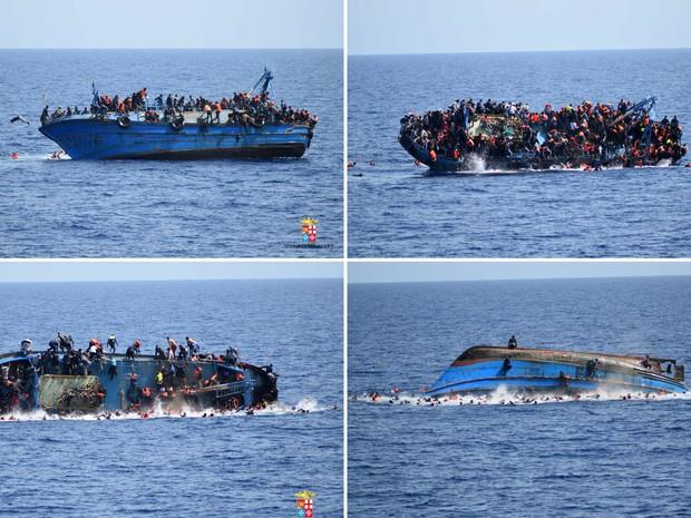 Combinação de fotos mostra imigrantes pulando de um barco durante naufrágio antes da chegada do resgate pelos navios 'Bettica' e 'Bergamini' da marinha italiana na costa da Líbia (Foto: Marinha italiana/Divulgação via Reuters)