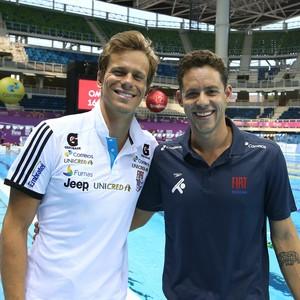 Cesar Cielo e Thiago Pereira fazem primeiro treinamento no Estádio Aquático do Parque Olímpico (Foto: Satiro Sodré/ SSPress/CBDA)