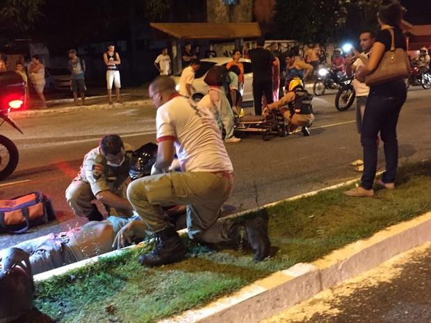 Homem foi atropelado nas proximidades da UFPB, em João Pessoa (Foto: Walter Paparazzo/G1)