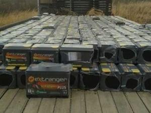 Carga de baterias de carro foi roubada no último dia 9 em Lavras da Mangabeira, no Ceará (Foto: Divulgação/SSPDS)