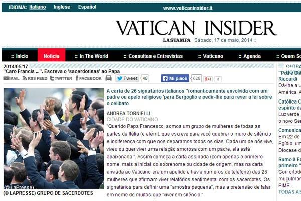 Site do 'Vatican Insider' publicou carta de 26 companheiras de padres. (Foto: Reprodução)