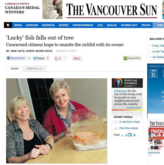 Peixe foi encontrado vivo após cair de 'árvore'. (Foto: Reprodução/Vancouver Sun)