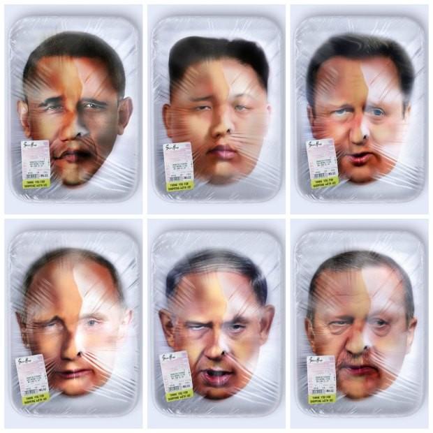 """Artista anônimo """"empacota"""" líderes mundiais em bandejas de carne em projeto provocativo"""
