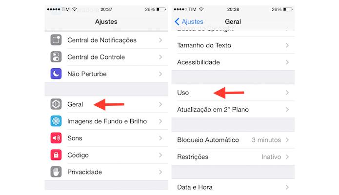 Acessando as configurações de uso do iOS 7 no iPhone 4 (Foto: Reprodução/Marvin Costa)