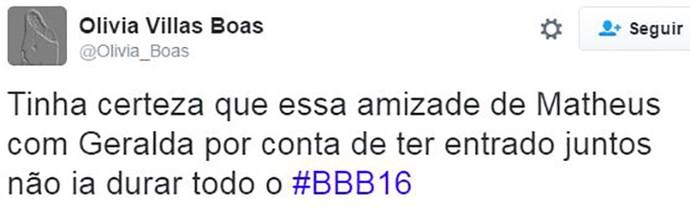post geralda e matheus bbb16 (Foto: web)