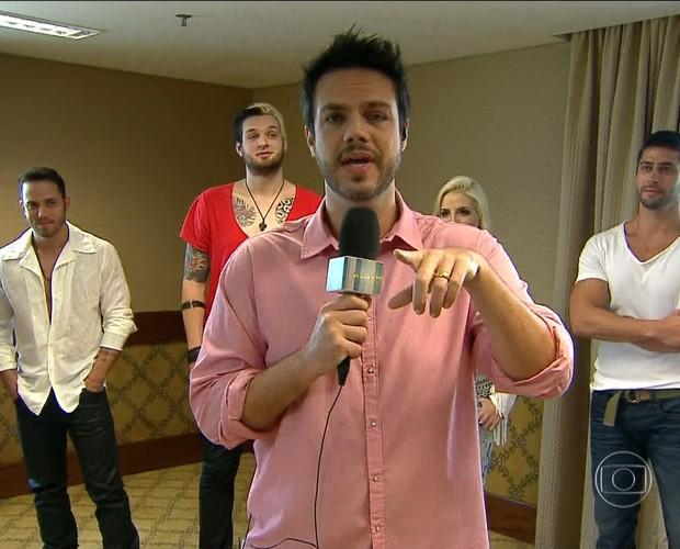 Valverde conversa com BBBs (Foto: Encontro com Fátima Bernardes/TV Globo)
