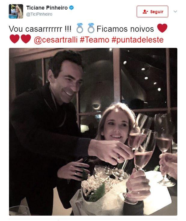 Cesar Tralli e Ticiane Pinheiro (Foto: Reprodução/Twitter)