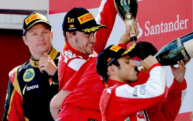 Alonso, Massa e Raikkonen no pódio da F1 (Foto: AFP)
