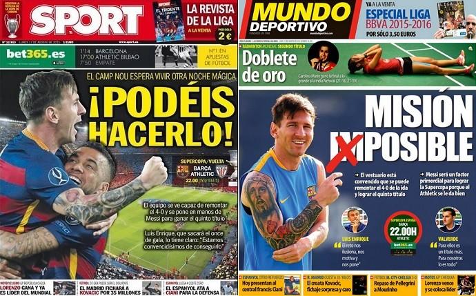 Capas dos jornais Sport e Mundo Deportivo Barcelona