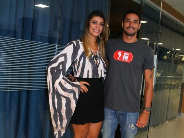 Ex-BBBs Franciele Almeida e Diego Grossi em evento na Zona Oeste do Rio (Foto: Anderson Borde/ Ag. News)