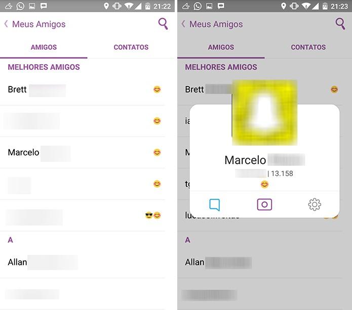 Snapchat pode exibir nome de usuário do seu amigo e snapcode (Foto: Reprodução/Elson de Souza)