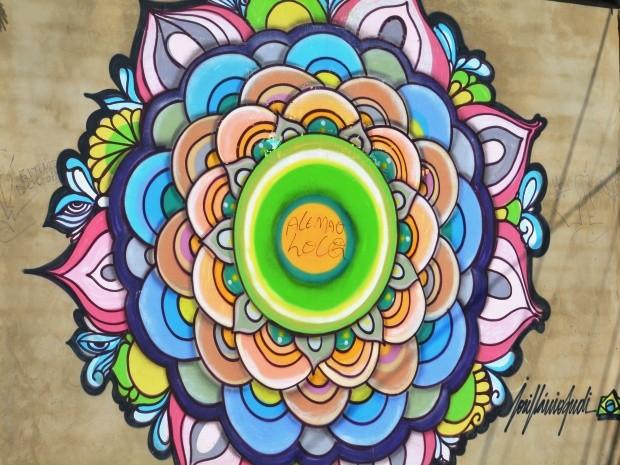 Mandala criada por José Flávio Audi no bairro Cambuí, em Campinas (Foto: Fernando Pacífico / G1 Campinas)