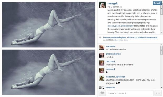 Modelo protesta no Instagram contra edio de seu corpo no Photoshop. (Foto: Reproduo Instagram)