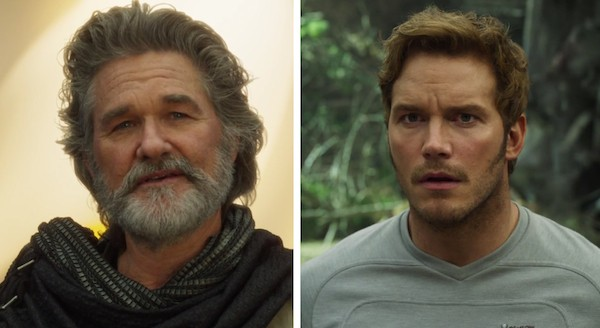 O encontro de Kurt Russell e Chris Pratt em 'Guardiões da Galáxia Vol. 2' (Foto: Reprodução)