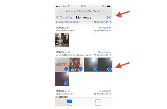 Movendo imagens para o novo álbum de fotos criado no iPhone (Foto: Reprodução/Marvin Costa)