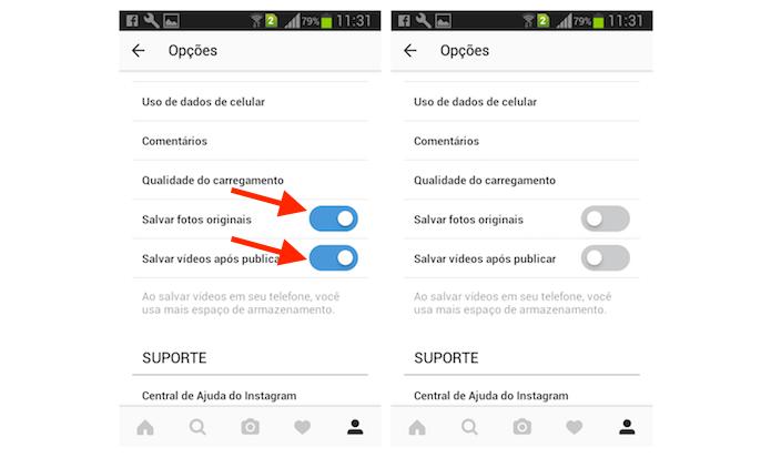 Opção para desativar o salvamento automático de fotos e vídeos do Instagram (Foto: Reprodução/Marvin Costa)