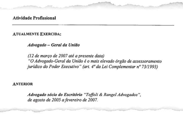 Trecho do currículo oficial do ministro José Antonio Dias Toffoli no Supremo Tribunal Federal. O documento mostra que, em 2005, Toffoli era sócio do escritório de advocacia de Roberta Rangel quando ela defendia José Dirceu  (Foto: Reprodução)