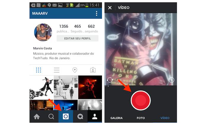 Gravando um vídeo com um minuto no Instagram para Android (Foto: Reprodução/Marvin Costa)