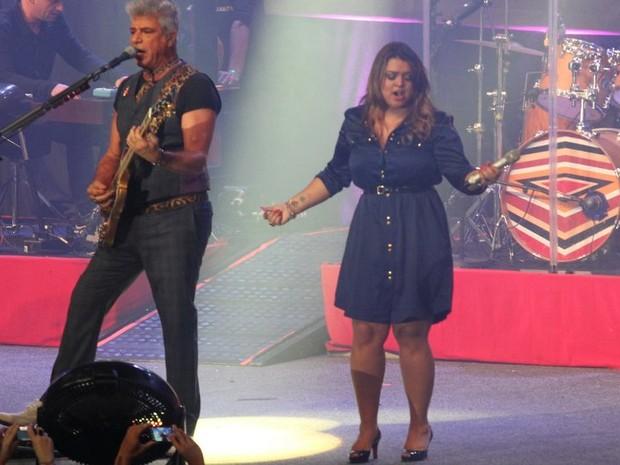 Lulu Santos e Preta Gil cantam juntos em show no Rio (Foto: Anderson Borde e Léo marinho/ Ag. News)