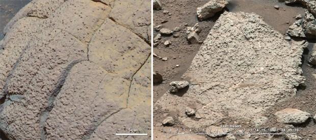 Imagens de rochas identificadas por dois robôs exploratórios da Nasa em diferentes momentos: à esquerda, pelo Opportunity, e à direita, pelo Curiosity (Foto: Divulgação/Nasa/JPL-Caltech/Cornell/MSSS )