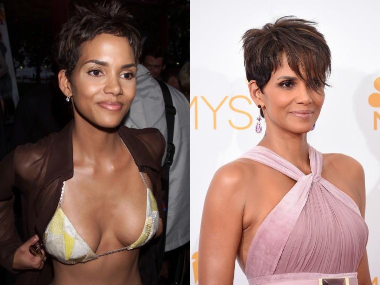 Em 2000, Hale exibiu biquíni na première de 'X-Men', com 34 aninhos. Em Agosto deste ano, a atriz posou para foto no 66º Emmy Awards, com 48. (Foto: Getty Images)