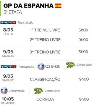 INFO - Horários GP do Espanha F1 (Foto: infoesporte)