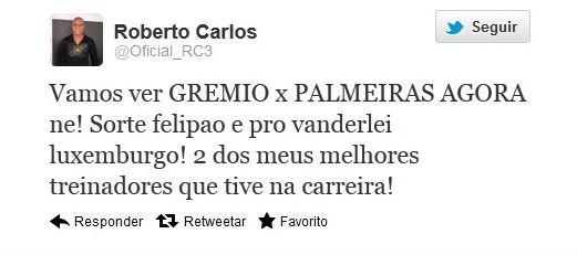 Roberto Carlos elogia Felipão e Luxemburgo (Foto: Reprodução da Internet)