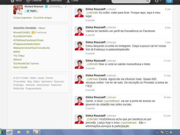 Dilma Rousseff reativa conta no Twitter e, nas primeiras postagens, interage com humorista do Dilma Bolada (Foto: Reprodução/ Twitter)