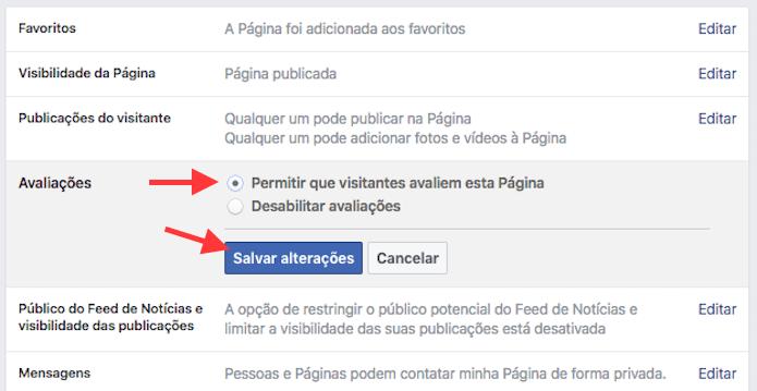 e2ec2caadde Opção para ativar as avaliações de uma página do Facebook (Foto   Reprodução Marvin