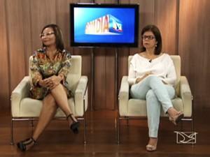 Secretária municipal de saúde, Helena Duailibe e a promotora de justiça, Glória Mafra. (Foto: Reprodução/TV Mirante)