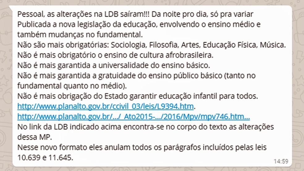 Mensagem circula pelo WhatsApp informações sobre alterações da LDB que não são verdadeiras (Foto: Reprodução/WhatsApp)