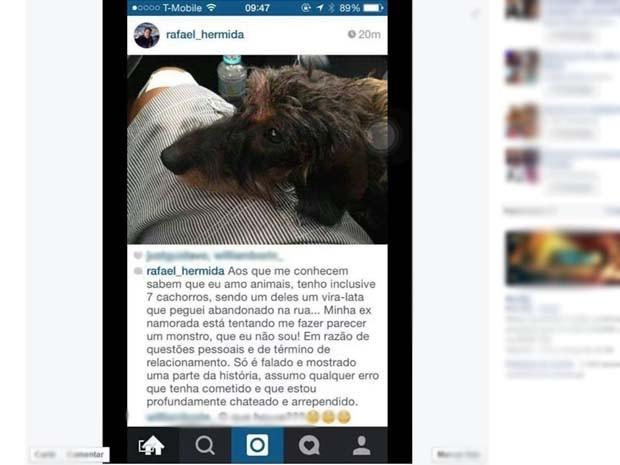 Rafael Hermida postou em uma rede social uma foto com um cão e disse estar arrependido e muito chateado (Foto: Reprodução/TV Globo)