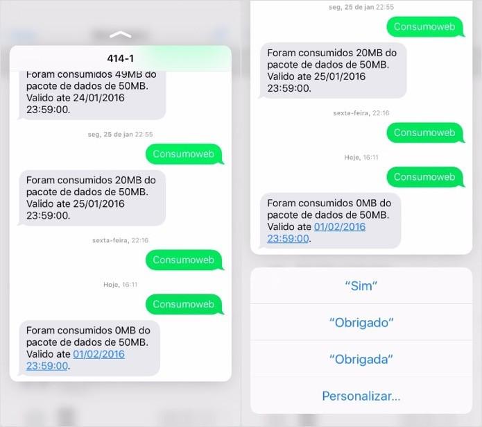 Enviando uma resposta rápida por SMS (Foto: Reprodução/Helito Bijora)
