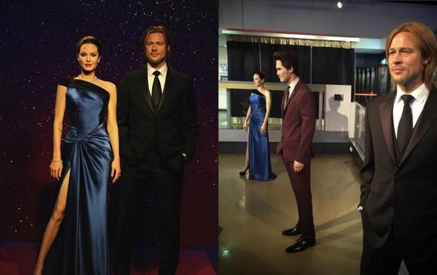 Estátuas de cera de Angelina Jolie e Leonardo di Caprio antes e depois da separação (Foto: Getty Images | Reprodução / Twitter)