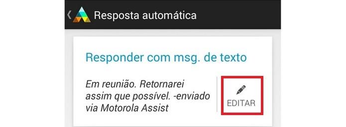 Destaque para ícone de edição da resposta automática (Foto: Reprodução/Raquel Freire)