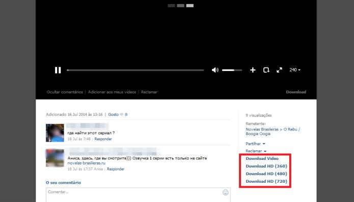 Fazendo download do vídeo da comunidade para o computador (Foto: Reprodução/Lívia Dâmaso)