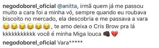 Resposta do Nego do Borel (Foto: Reprodução Instagram)