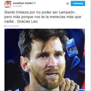 Calleri lamenta derrota de Messi com Argentina (Foto: Reprodução)