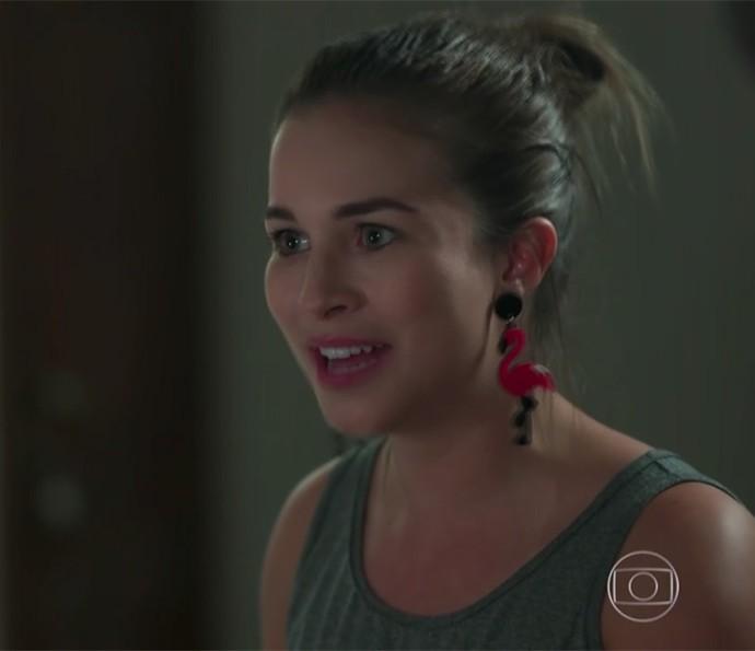 Jéssica investiu no look para a viagem (Foto: TV Globo)
