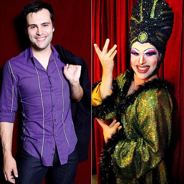 Leandro Luna chegando ao teatro e caracterizado como a personagem Miss Segura (Foto:  Luciano Santos/TalentMix)