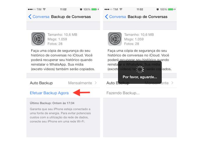 Realizando backup manualmente no WhatsApp para iPhone (Foto: Reprodução/Marvin Costa)