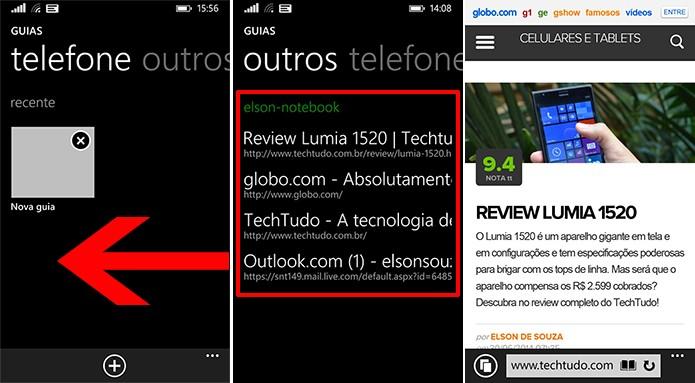 Internet Explorer exibe abas abertas no computador na guia Outros para que usuário acesse páginas (Foto: Reprodução/Elson de Souza)