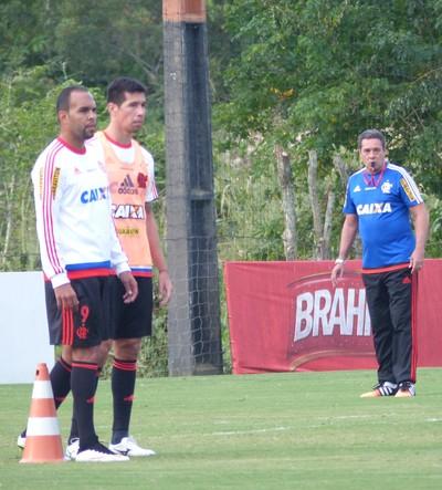 Flamengo, treino, Ninho do Urubu, Luxemburgo, Cáceres, Alecsandro (Foto: Richard Souza/GloboEsporte.com)