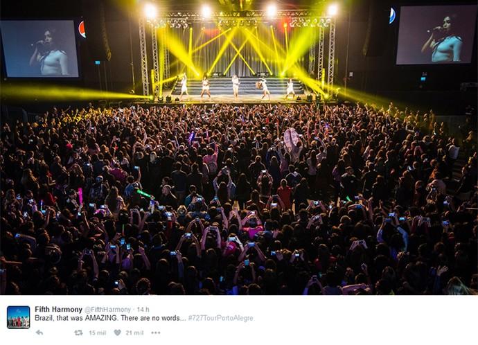 Fifth Harmony se declarou após o show: 'Brasil, foi incrível! Não existem palavras...' (Foto: Reprodução internet)