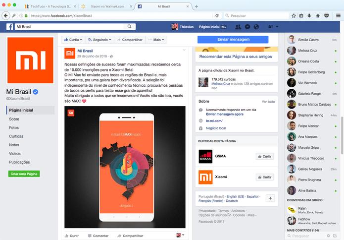 Último post da marca no Facebook foi em junho de 2016 (Foto: Reprodução/TechTudo)