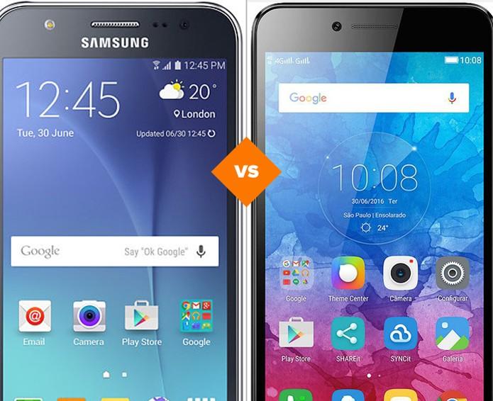 Galaxy J5 ou Lenovo Vibe K5: confira qual celular por menos de R$ 1 mil se sai melhor em comparativo (Foto: Arte/TechTudo)